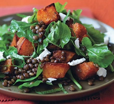 SPICED PUMPKIN, LENTIL AND FETA SALAD