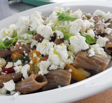Lemon Carob Pasta Salad with Feta